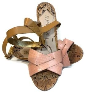 ✨SAM & LIBBY✨ Pink Python Inspired Wedge Sandals
